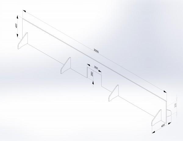 Schutzwand mit Stellfüßen 3.000 x 400 mm - PSE Technik GmbH & Co. KG