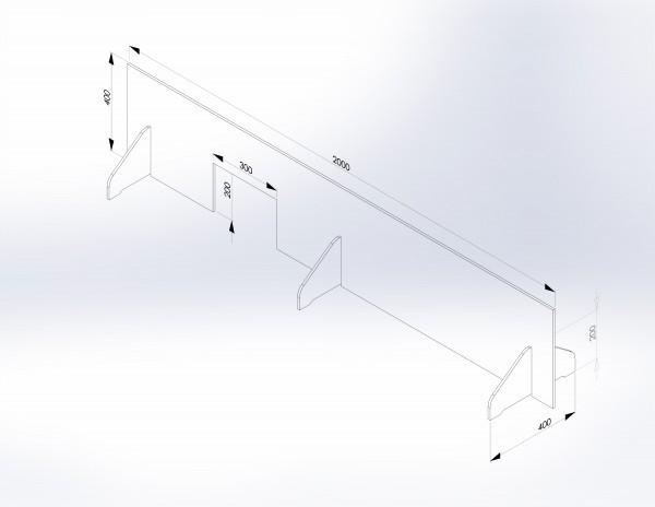 Schutzwand mit Stellfüßen 2.000 x 400 mm - PSE Technik GmbH & Co. KG