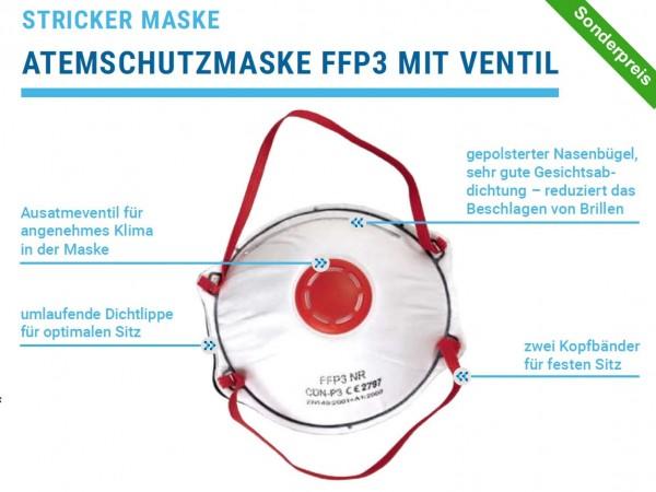 Atemschutzmaske mit Ventil FFP3 Stricker mit CE Kennzeichnung