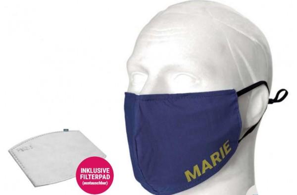 Stoffmaske mit eingesetztem Filterpad