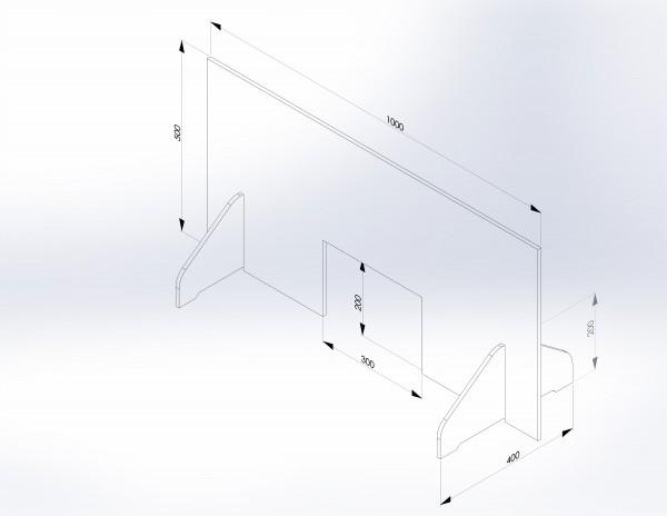 Schutzwand mit Stellfüßen 1.000 x 500 mm - PSE Technik GmbH & Co. KG
