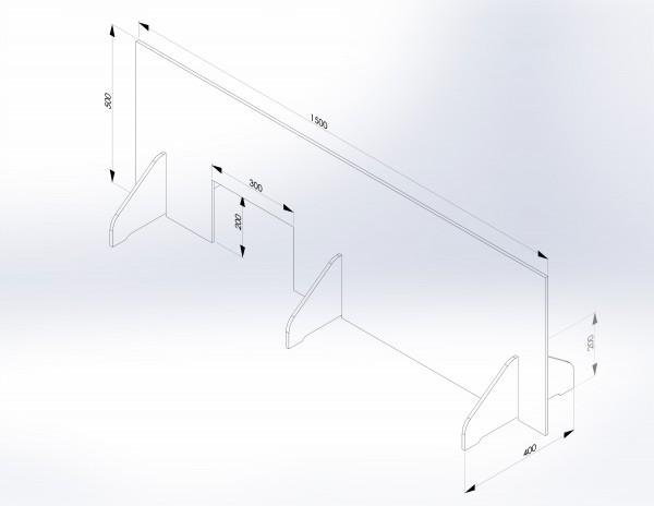 Schutzwand mit Stellfüßen 1.500 x 500 mm