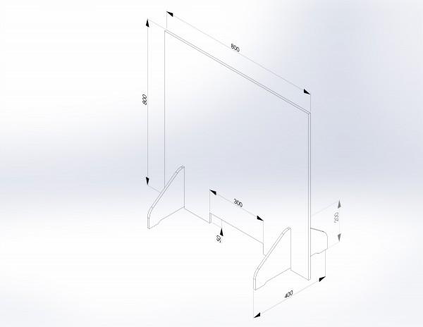 Schutzwand mit Stellfüßen 800 x 800 mm - PSE Technik GmbH & Co. KG