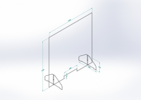 Schutzwand mit Stellfüßen 1.000 x 1.000 mm - PSE Technik GmbH & Co. KG
